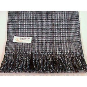 100% Cashmere gray plaid scarf
