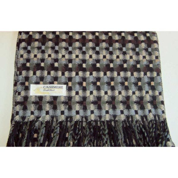 100% Cashmere black gray and blue scarf