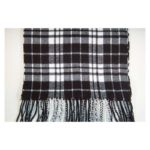 100% Cashmere black and white plaid scarf