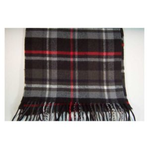 100% Cashmere black and red plaid scarf