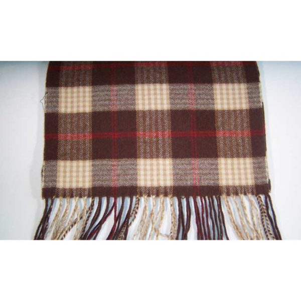 100% Cashmere brown red and gold plaid scarf