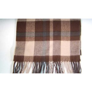 100% Cashmere brown beige plaid scarf