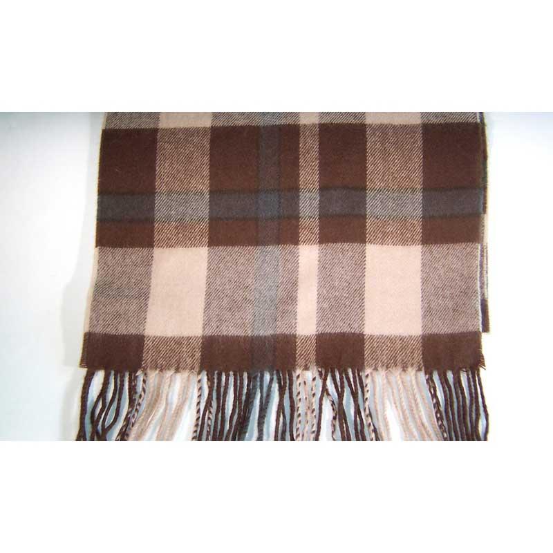100% Cashmere brown beige plaid scarf