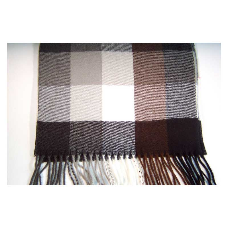 100% Cashmere brown black and white plaid scarf