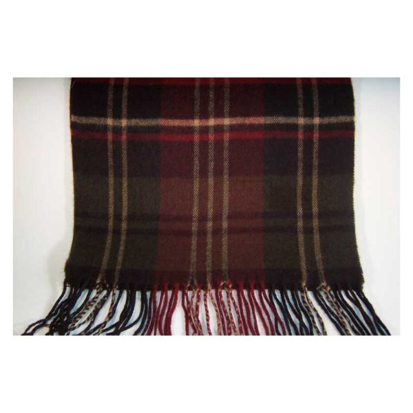 100% Cashmere burgundy and black plaid scarf