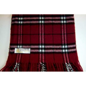 100% Cashmere burgundy plaid scarf