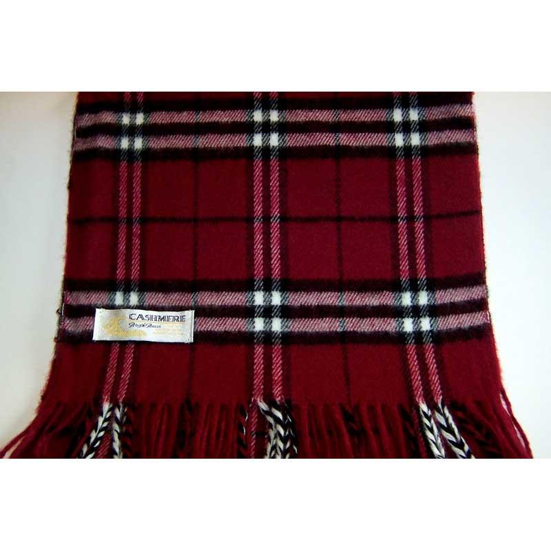 100% Cashmere burgundy plaid scarf