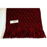 100% Cashmere red and black herringbone scarf