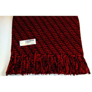 100% Cashmere red and black herringbone scarf