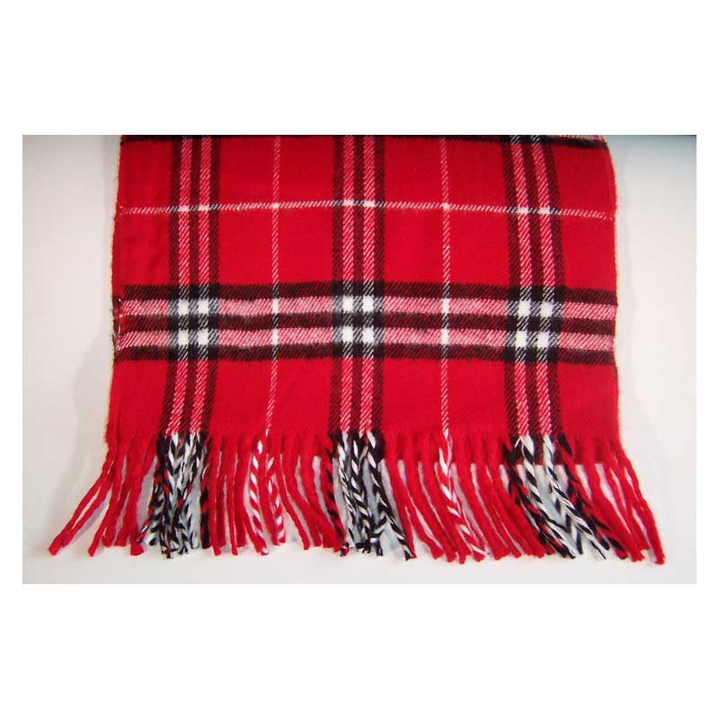 100% Cashmere red plaid scarf
