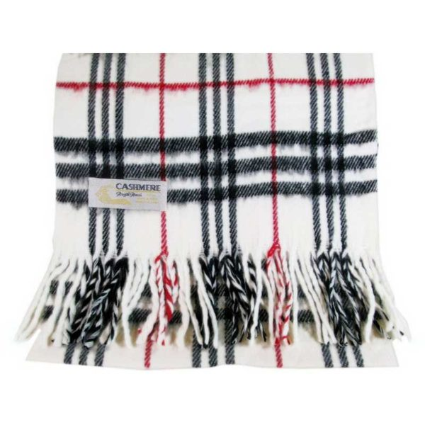 100% Cashmere black white and red plaid scarf